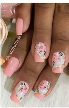Pastel Pink with White Enamel/Pink Enamel Florals Designs. Colorful Nail Designs, Acrylic Nail Designs, Nail Art Designs, Cute Nails, Pretty Nails, Pearl Nails, Bride Nails, Spring Nail Art, Flower Nail Art