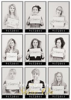 Morning after bachlorette party mug shots!  Love this...we may have to do this for Hannah!