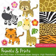 Items similar to Animals and Prints - Clipart and Digital paper set - Leopard, Tiger, Giraffe, Zebra on Etsy Jungle Animals, Cute Baby Animals, Wild Animals, Rainforest Animals, Quilting, Budget Planer, Art Clipart, Beach Clipart, Scrapbook