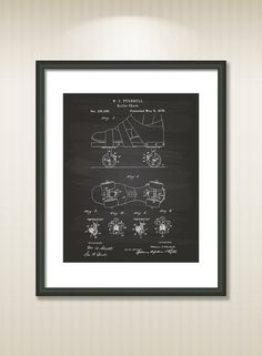 This reproduction was digitally restored and in some cases altered to remove defects or unwanted artifacts present in the original patent document.  Buy more and save! Buy ... #patentart #patentprints #vintage #blueprint #skate #sport