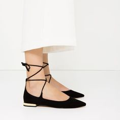 LACE-UP BALLET FLATS-SHOES-WOMAN-COLLECTION AW16 | ZARA United States