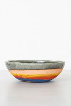 Large size stoneware bowl from New York-based, Japanese ceramicist Shino Takeda. Ideal for soup, ice cream, hummus, nuts or as a decoration piece. Hand built and one of a kind. You will receive the bo