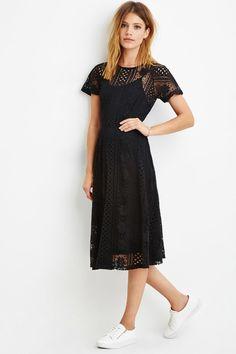Contemporary Floral Crochet Midi Dress