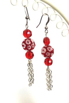 Red floral millefiori and crystal earrings, chain dangle