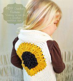 Crochet Pattern: The Clementine Shrug Vest -Toddler, Child, & Adult (Sm/Med.) Sizes- sunflower, mustard yellow, spring, fingerless by NaturallyNoraCrochet on Etsy https://www.etsy.com/listing/122180920/crochet-pattern-the-clementine-shrug