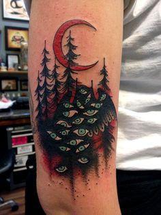 Twin Peaks owls tattoo, by R.H. Wells