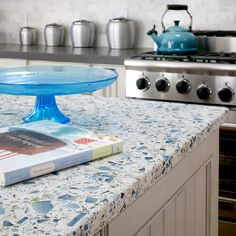 Floating Blue — Vetrazzo Product Sheet — Recycled Glass Countertops, Tiles, Mosaics, Flooring and Accessories — Available in the USA, Canada and Worldwide