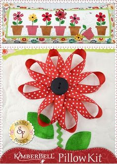 Kimberbell Pillow Kit (Pre-fused/Laser Cut) - May Flowers: The adorable interchangeable pillow cover by Kimberbell Designs is perfect for May! Kit includes the pattern, all fabrics, embellishments and laser-cut applique pieces.