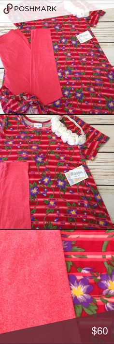 Medium Irma 🌺 and solid peach tone 0/S Isn't this the cutest Irma you've ever seen! This has some stripes but not overwhelming and purple lilac blooming flowers with yellow centers. Will sell Carly as a single item and these run BIG. 🇺🇸No swapping items on this 🇺🇸Bundle is as pictured 🇺🇸See sizing chart for details.  🇺🇸No trades  🇺🇸FIRM on this bundle no offers accepted 😉Thank you for the likes, shares and kindness! 😘 LuLaRoe Dresses High Low