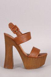 Bamboo Slingback Chunky Platform Spool Heel