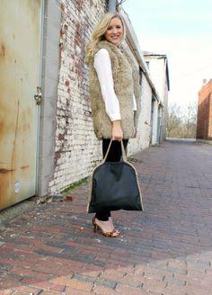 thedailysugar.blogspot.com faux fur vest, forever 21, black hand bag, black skinnies, white blouse, leopard print pumps, heels, deb shops, glam, lux, fashion, fashion blogger, fashion blog