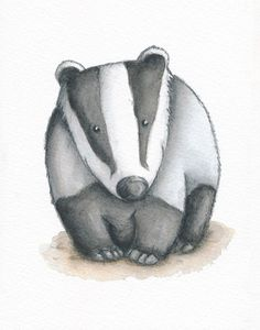 Badger print - Badger illustration - - Nursery wall art - Childrens print - Woodland animals - Personalised or alphabet print - Watercolour by NibbyWilliams on Etsy https://www.etsy.com/listing/263724539/badger-print-badger-illustration-nursery