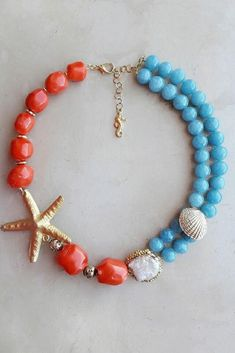 Bamboo coral and other gemstonese with gold starfish, shells and sea horses are going to be a must have for next summer jewelry. Women with a strong personality will wear bib necklaces like to embellish their neckline. Discover the collection on the website #summervibes  #jewelry #gemstonejewelry #gemstone s #beach #beachstyle #mermaid #turquoise #starfish #starfishnecklace #starfishjewelry #seavibes #travelstyle