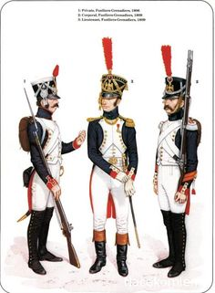 L to R Private Lieutenant 1809 & Corporal With the Fusilier Chasseurs they were to form the infantry of the Middle Guard. Military Units, Military Art, Military History, French Revolution, American Revolution, First French Empire, Army Uniform, Military Uniforms, French Army