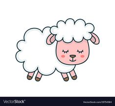 Flat Line Cartoon Character Illustration Icon Design. Moon Cartoon, Cartoon Kids, Cute Cartoon, Sheep Illustration, Character Illustration, Cute Sheep, Cute Bunny, Eid Stickers, Sheep Vector