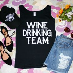 """""""Wine Drinking Team"""" Black Graphic Tank Top 