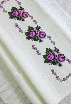 This Pin was discovered by Hat Cross Stitch Borders, Cross Stitch Rose, Cross Stitch Flowers, Cross Stitch Designs, Cross Stitching, Cross Stitch Patterns, Flower Embroidery Designs, Ribbon Embroidery, Cross Stitch Embroidery
