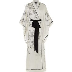 Carine Gilson Long Silk Kimono Robe (12.285 VEF) ❤ liked on Polyvore featuring intimates