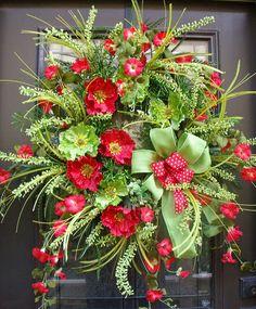 Poppy Wreaths, Summer Wreaths, Red and Lime, Designer Door Wreath, Wispy and Wild Wreaths