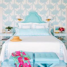 preppy light blue bedroom