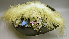 Elsa Schiaparelli 1930-1940s Large Black Straw Feather and Flower Embellished Picture Hat.