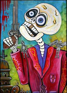 """""""The Gun"""" by Laura Barbosa, New Jersey // This original day of the dead painting on canvas called The Gun was created in honor of Dia De los Muertos or All Soul's Day. The subject matter is interesting and may pose a question to the viewer. Decisions for good and evil, right and wrong are symbolized in this artwork.... // Imagekind.com -- Buy stunning fine art prints, framed prints and canvas prints directly from independent working artists and photographers."""