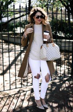 j crew lady day coat & Louis Vuitton Speedy 30#camelcoat #whitedenim #neutraloutfit
