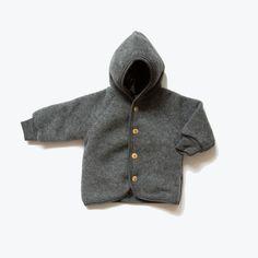 Organic 100% merino wool fleece jacket - Slate Grey 3m-8y