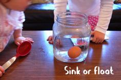"""{Science Experiment: The Floating Egg} She writes, """"As I hovered the egg over a jar of water, I asked my 3.5 year old, """"Will it sink or float?""""and it reminded me of Dave Letterman's funny sketch, """"Will it Float?"""" Have you seen it? This science experiment is really easy to set up + clean up, and the lesson learned on the density of water actually stuck with my 3-year old daughter long after the experiment was over. Fun and success!"""""""
