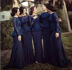 Navy Blue Prom Dresses 2015 Long Mermaid Bridesmaid Dresses Bateau Custom Made with Long Lace Sleeves Sweep Train Plus Size Mother Dress, $113.41 | DHgate.com