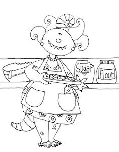Free Dearie Dolls Digi Stamps: Grandma's Beastest Cookies color and B/W