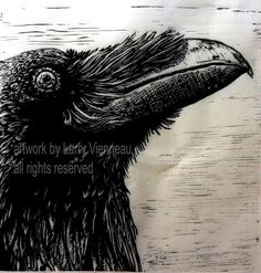 """""""Unkind Conversations"""" by Larry Vienneau.  The raven is a vocal virtuoso. The world's largest song bird, raven blends a unique rendition of quaffs, yelps, trills, thumps, chucks, trumpets and rattles. Vocal variety is what distinguishes the raven's language from all the animal kingdom except man. They communicate danger, opportunities,etc, and are great mimics.They have intense conversations and sometimes  vocalize for the sheer joy of expression."""