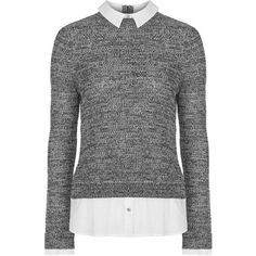 TopShop Marl Hybrid Jumper ($61) ❤ liked on Polyvore featuring tops, sweaters, grey, monochrome, topshop sweaters, topshop, layered tops, gray sweater and topshop jumper