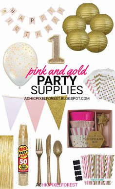 Pink and Gold Party Supplies!