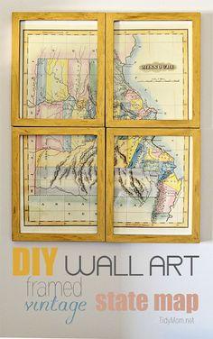 Vintage Framed Map Wall Art (Knock Off Decor) Knock Off Decor, Map Wall Art, Wall Décor, Framed Maps, Diy Wall Shelves, Vintage Frames, Vintage Diy, Diy Frame, Diy Art