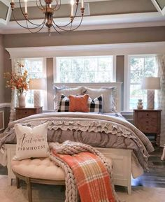 Are you searching for ideas for farmhouse bedroom? Browse around this website for amazing farmhouse bedroom pictures. This amazing farmhouse bedroom ideas will look wonderful. Rustic Master Bedroom, Farmhouse Bedroom Decor, Cozy Bedroom, Bedroom Ideas, Farmhouse Furniture, Modern Bedroom, Contemporary Bedroom, Farmhouse Interior, Bedroom Designs