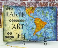 The Earth Without Art Journal Page -- Experiment with stencils and decou-page to create a fun journal page  #decoartprojects #stencils