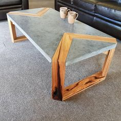 Thoughts on the mixture of concrete and wood? Made by . 👉Get woodworking plans that comes with step-by-step instructions… Concrete Furniture, Concrete Wood, Polished Concrete, Diy Furniture, Furniture Design, Business Furniture, System Furniture, Outdoor Furniture, Furniture Plans