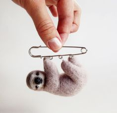 Curious Little Sloth Hand Felted Animal by ShishLOOKdesign on Etsy, $36.00