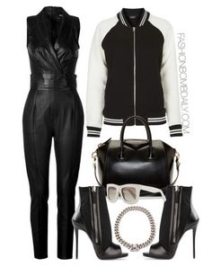 What-to-Wear-for-All-Star-Weekend-2015-Jitrois-Leather-Jumpsuit-Topshop-Striped-Rib-Jersey-Bomber-Jacket-Giuseppe-Zanotti-Peep-Toe-Booties-Givenchy-Antigona-Small-Duffle-Bag.png (415×524)