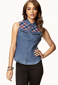 Faux Leather-Trimmed Denim Shirt | FOREVER21 - 2054516019