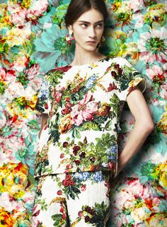 A kaleidoscopic bouquet of flowers - Dolce FW2014 Womenswear Collection Flower and Fruit Print Dress Printed Brocade Tunic and Trousers
