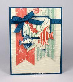 Card base:  Dapper Denim 4-1/4 x 11 scored at 5-1/2 Mat: Very Vanilla 4 x 5-1/4 embossed with the Seaside Embossing Folder Seaweed--Mint Macaron;Bubbles--stamped off Dapper Denim;Fish--Dapper Denim * Calypso Coral