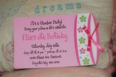 Sleepover birthday party invitation or Slumber party birthday invitations