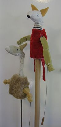 Simple rods puppets from recycled materials