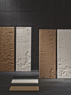 Bas Relief, designed by renowned designer, Patricia Urquiola, is an artisan-produced work of different variations and depths, influenced by traces of the past. In this handmade collection, designed primarily for wall use, the theme of the bas-relief comes to life in several versions and depth. Shades are natural and neutral. The four styles within the collection, while all textured and bold, are extremely different from one another.