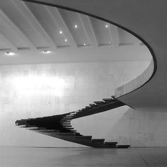 (Creation by Oscar Niemeyer Brasilia) Imagine gliding down this staircase in a… Oscar Niemeyer, Amazing Architecture, Art And Architecture, Architecture Details, Staircase Architecture, Chinese Architecture, Futuristic Architecture, Design Despace, House Design