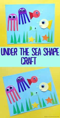 Under the sea shape craft for kids. A fun and easy ocean craft for toddlers and preschoolers. Creative Arts And Crafts, Easy Crafts For Kids, Craft Activities For Kids, Toddler Crafts, Ocean Activities, Simple Crafts, Activity Ideas, Summer Crafts, Preschool Activities