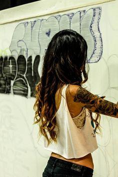 girl sleeve tattoo, flowers. love it! - My ink ideas