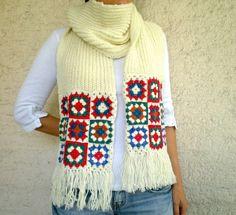 Wool Scarf  with Afghan Motifs Knit  Womens Scarves por bysweetmom